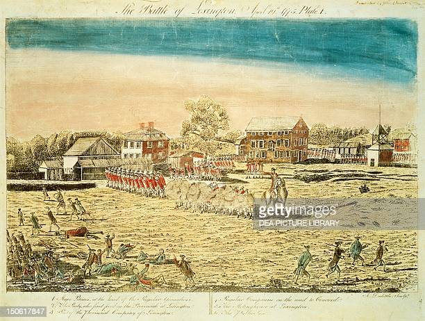 The Battle of Lexington, April 19 engraving. American War of Independence, the United States, 18th century.