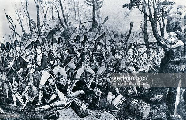The Battle of Lexington, April 19 which marked the beginning of the American Revolutionary War, engraving. United States.