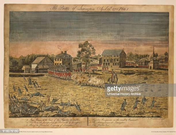 The Battle of Lexington, April 19th Plate I, by Ralph Earl Hand-Colored Etching and Engraving by Amos Doolittle, Printed by R. R. Donnelley & Sons...