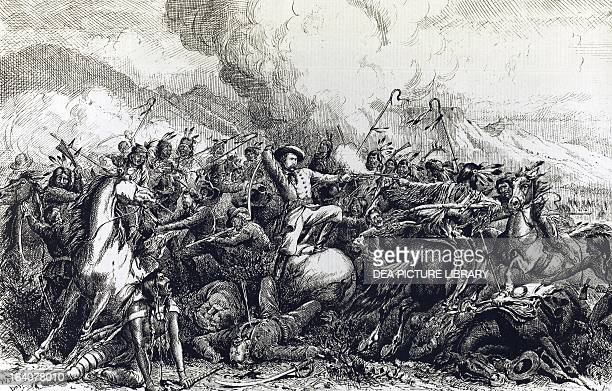 The Battle of Little Big Horn in which General George Custer and his soldiers were killed June 25 engraving taken from The Daily Graphic July 19 1876...