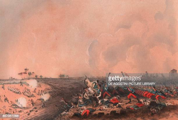 The Battle of Magenta Lombardy Second War of Independence lithograph by Carlo Perrin from the drawing by Carlo Bossoli 22x15 cm from Album...