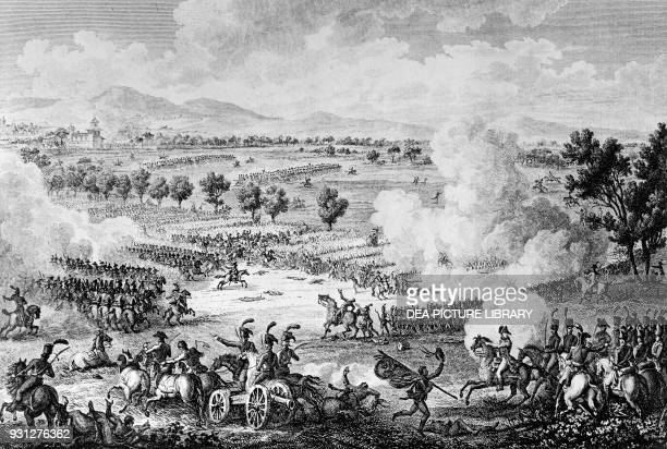 The Battle of Marengo, June 14 fought between the French and the Austro-Hungarian Imperial armies, engraving by Pierre-Philippe Choffard , Napoleonic...