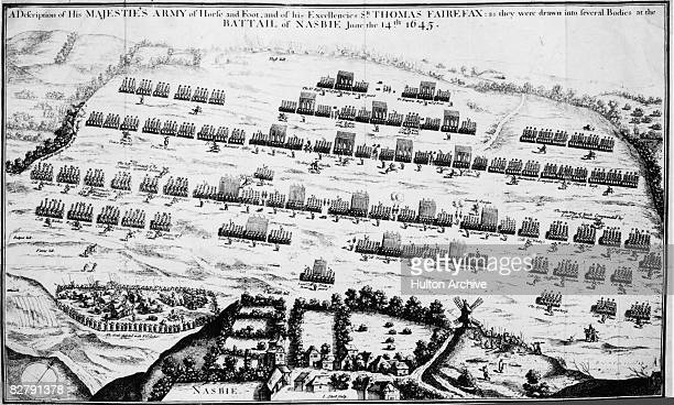 The Battle of Naseby during the English Civil War 14th June 1645 An engraving by Short