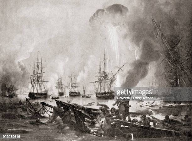 The Battle of Navarino 20 October 1827 in Navarino Bay Greece between the Ottoman Empire and the allied British French and Russian forces during the...