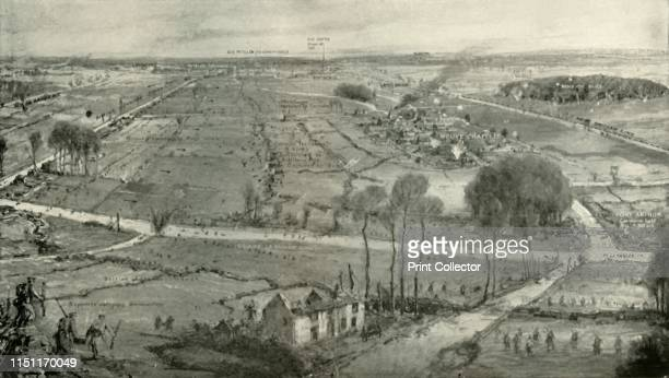 The Battle of Neuve Chapelle' Annotated landscape of the village of NeuveChapelle and surrounding countryside in northern France during the First...