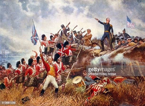 The Battle of New Orleans by Percy Moran Andrew Jackson standing in front of an American flag with his sword raised