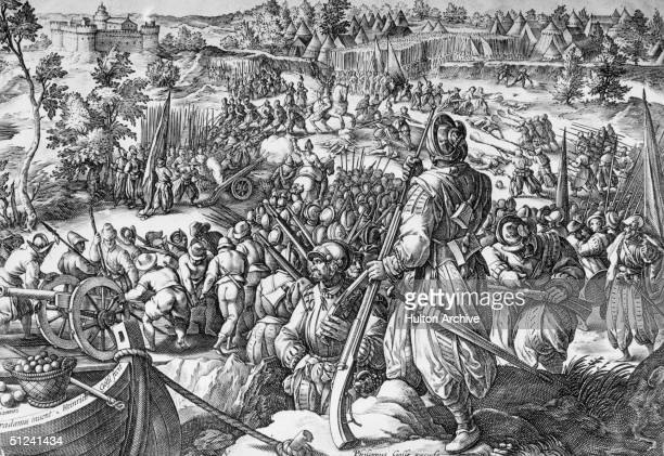 1525 The battle of Pavia in Lombardy Italy between the forces of Francis I of France and the Holy Roman Emperor Charles V The arquebus was...