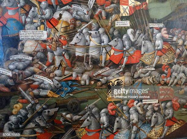 The battle of Pavia painted 1525-1530 oil on wood by an unknown artist. The Battle of Pavia, 24 February 1525, was the decisive engagement of the...
