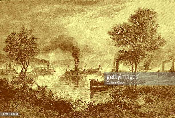 The Battle of Plum Point Bend or the Naval Battle of Fort Pillow on 10 May 1862 From lr the ships are USS Mound City USS Carondelet USS Cincinnati...