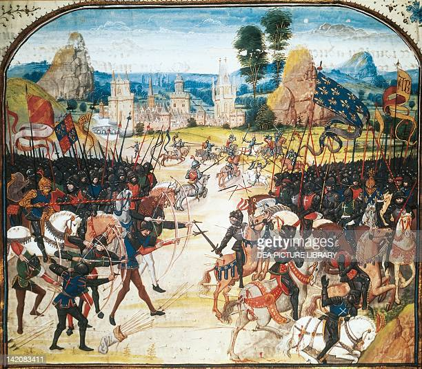 The Battle of Poitiers miniature from a manuscript France 15th century