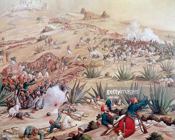 The Battle of Puebla took place on 5 May 1862 near the city of Puebla during the French intervention in Mexico - Detail of painting of Patricio Ramos...