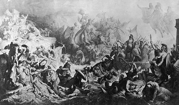The Battle of Salamis in the Gulf of Aegina near Athens,...