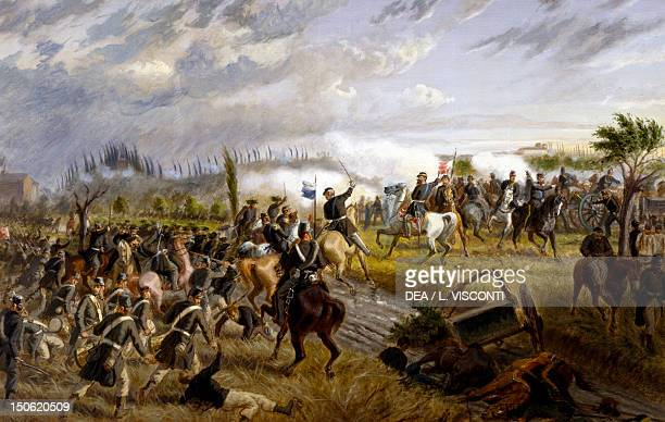 The Battle of San Martino June 24 by Raffaele Pontremoli oil on canvas 136x86 cm Second War of Independence Italy 19th century
