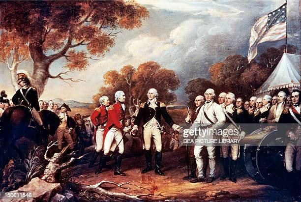 The Battle of Saratoga the British General John Burgoyne surrendering to the American General Horatio Gates October 17 by John Trumbull oil on canvas...