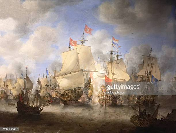 The Battle of Scheveningen 10 August 1653 Oil on canvas by Jan Abrahamsz Beerstraaten Private collection