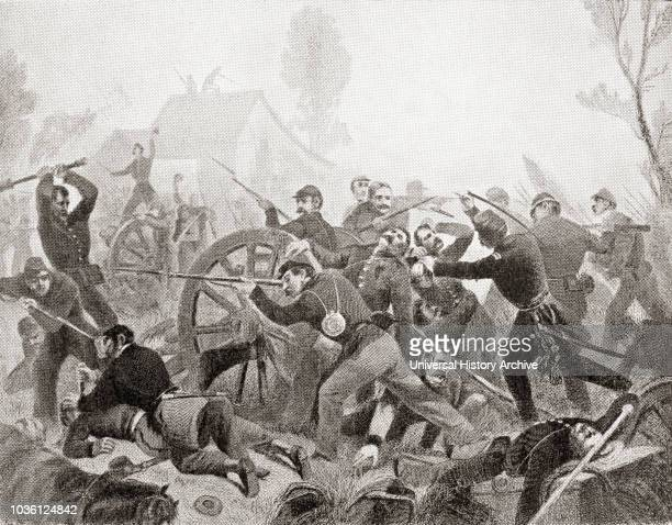 The Battle of Shiloh aka the Battle of Pittsburg Landing a major battle in the Western Theater of the American Civil War From Hutchinson's History of...