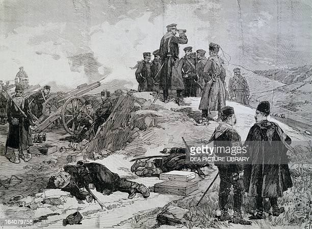 The Battle of Slivnitza Prince of Bulgaria Alexander of Battenberg on the right 18 November 1885 SerbianBulgarian War Bulgaria 19th century