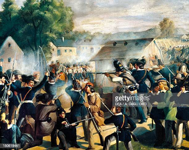 The battle of Taborbrucke at Leopoldstadt October 6 during the revolution of 1848 by Bonaventura Emler Austria 19th century