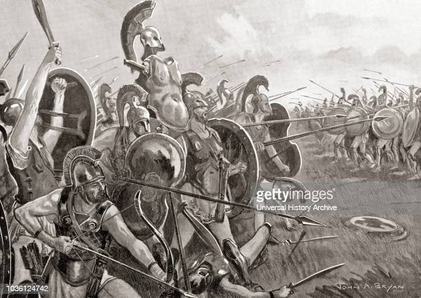 The Battle of Tanagra 457 BC between Athens and Sparta during the First Peloponnesian War From Hutchinson's History of the Nations published 1915