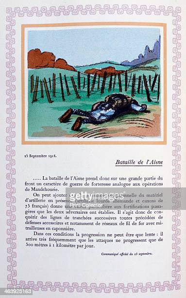 The Battle of the Aisne 25th September 1914 A book of the principal events of the war period A print from Le livre des heures héroïques et...