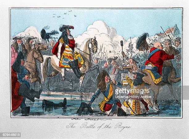 The Battle of the Boyne Comic History of England Colored Etching by John Leech 1850