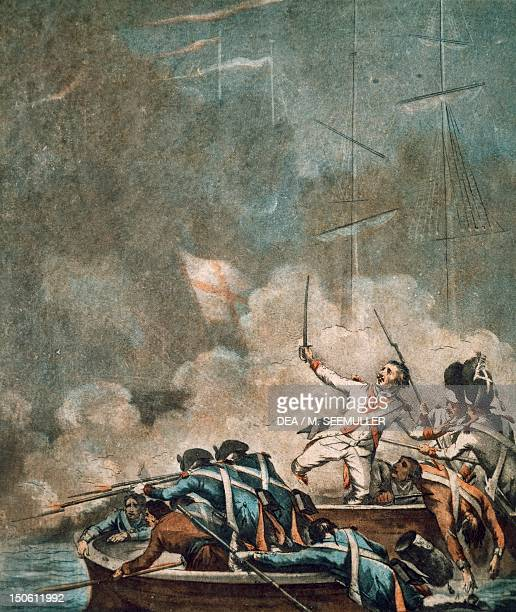 The Battle of the Chesapeake French grenadiers of the Soissons regiment fighting on the deck of the ship Le Conquerant September 5 1781 American War...
