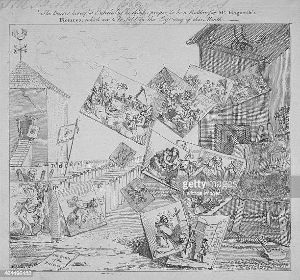 'The battle of the pictures a bidder's ticket for Hogarth's auction of 19 paintings' 1744 The building on the left is the auction house the building...