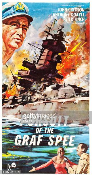 The Battle Of The River Plate poster US poster art top left Peter Finch bottom second from right April Olrich 1956