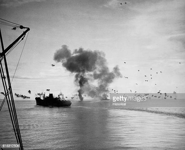 The Battle of the Solomon Islands photographed by the USS President Adams off the coast of Guadalcanal November 12 1942 The USS President Jackson is...