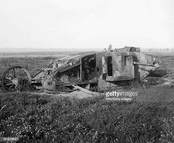 The Battle Of The Somme 1 July - 18 November 1916, Remains of a Mk I 'Male' Tank of 'D' Company on the old Somme battlefield, September 1917.