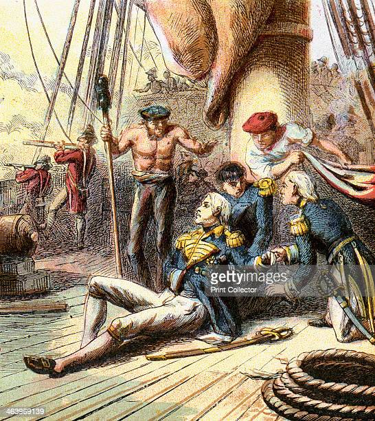 'The Battle of Trafalgar 1805' Scene on 'HMS Victory' during the Battle of Trafalgar 21 October 1805 where the British navy decisively defeated the...