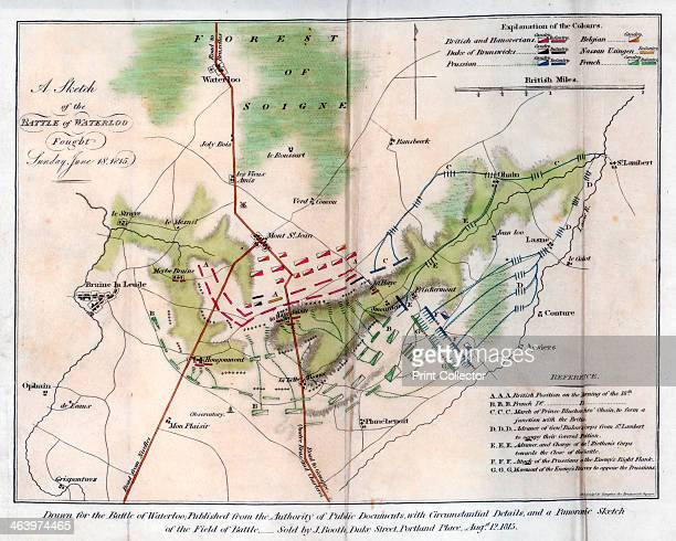 The Battle of Waterloo 1815 Sketch showing the battlefield The Battle of Waterloo fought on 18 June 1815 was Napoleon Bonaparte's last battle His...