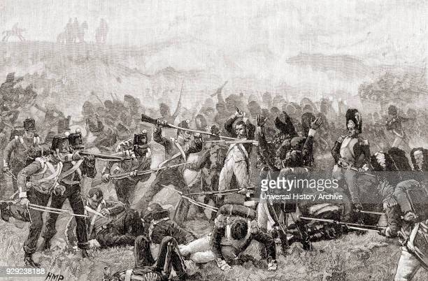 The Battle of Waterloo Belgium 18 June 1815 French and English soldiers fighting hand to hand From The Century Edition of Cassell's History of...