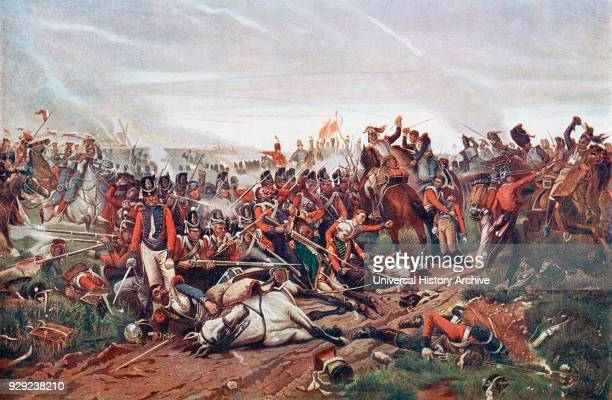The Battle of Waterloo Belgium 18 June 1815 French Cuirassiers charging a British square After the painting by Jazet From The Century Edition of...