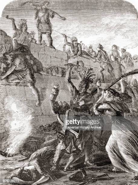 The Battle of Wyoming aka the Wyoming Massacre during the American Revolutionary War between American Patriots and Loyalists accompanied by Iroquois...