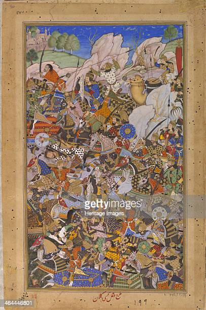 The Battle Preceding the Capture of the Fort at Bundi Rajasthan in 1577 15921594 Found in the collection of the Victoria and Albert Museum