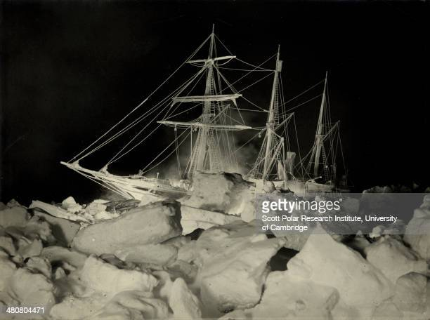 The battle with pressure ice around the 'Endurance' in winter during the Imperial TransAntarctic Expedition 191417 led by Ernest Shackleton Taken at...