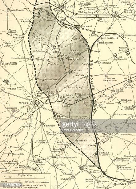 The Battlefield of Arras', First World War, circa 1917, '...map showing approximately the ground won by the British armies up to the [German Field...