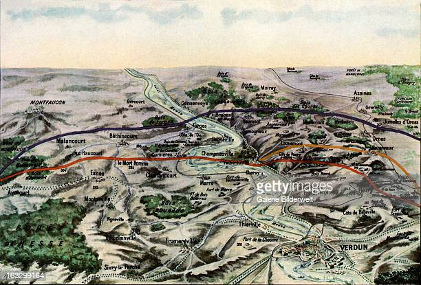 Schematic representation of the front on February 20 1916 Red On July 1 Yellow December 15 French map of the Battle of Verdun September 1916 Western...