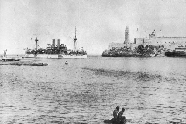 The battleship USS Maine, entering Havana harbour,...