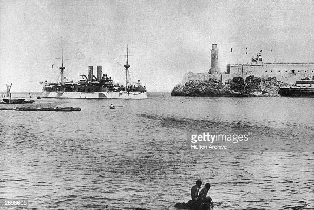 The battleship USS Maine, entering Havana harbour, where it was later blown up, triggering the Spanish-American War.
