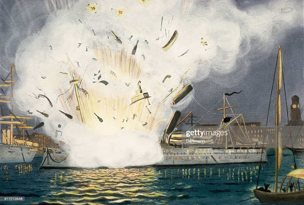 The battleship USS Maine is depicted exploding in Havana Harbor on February 15, 1898, during the Spanish-American War. It had been sent to Cuba to protect US residents following rioting in Havana against Spain.