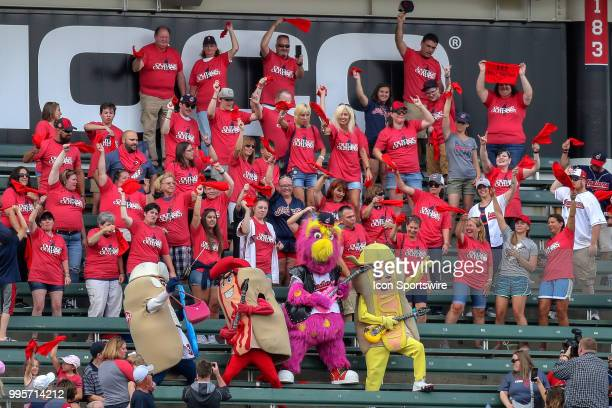 The Bauer Outage fan club jams with Cleveland Indians mascot Slider and the Sugardale Hotdog Mascots in shirts provide by Cleveland Indians starting...