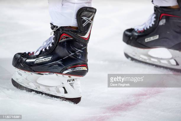 The Bauer skates of Andrew MacDonald of the Philadelphia Flyers during an NHL game against the Detroit Red Wings at Little Caesars Arena on February...