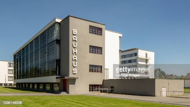 The Bauhaus building Dessau Germany 2018 Designed by Walter Gropius 192526 Lettering by Herbert Bayer