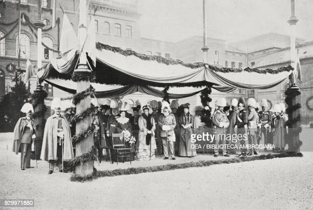 The Bavarian royal family on the 150th anniversary of the Army Cadet Corps, with Prince Leopold of Bavaria in the centre, Monaco, Germany, photograph...