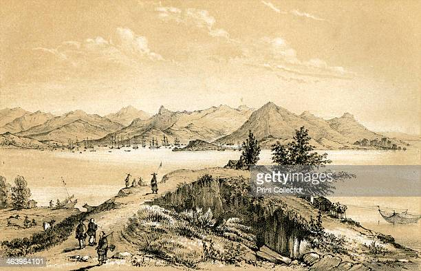 The bay and island of Hong Kong 1847 Drawn by B Clayton from a painting by Borget Illustration from The History of China and India by Miss Corner