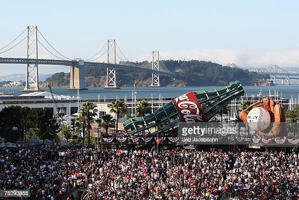 The Bay Bridge is seen in distance as fans attend the 78th Major League Baseball AllStar Home Run Derby at ATT Park on July 9 2007 in San Francisco...