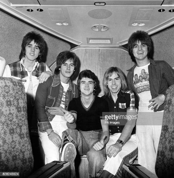 The Bay City Rollers pop group on board a jumbo jet at the height of their fame From left Stuart Wood Alan Longmuir Leslie McKeown Derek Longmuir and...