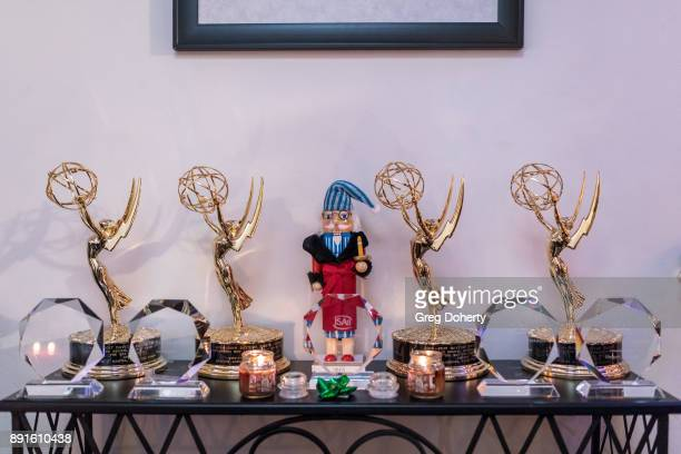The Bay Emmy Trophies and other awards on display at The Bay Ugly Sweater And Secret Santa Christmas Party at Private Residence on December 12 2017...